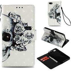 Skull Flower 3D Painted Leather Wallet Case for Huawei Y5 Prime 2018 (Y5 2018 / Y5 Lite 2018)