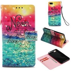 Colorful Dream Catcher 3D Painted Leather Wallet Case for Huawei Y5 Prime 2018 (Y5 2018 / Y5 Lite 2018)