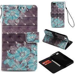 Blue Flower 3D Painted Leather Wallet Case for Huawei Y5 Prime 2018 (Y5 2018 / Y5 Lite 2018)