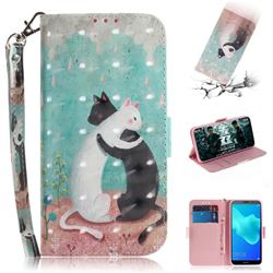 Black and White Cat 3D Painted Leather Wallet Phone Case for Huawei Y5 Prime 2018 (Y5 2018)