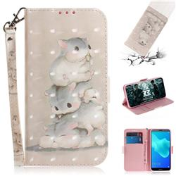 Three Squirrels 3D Painted Leather Wallet Phone Case for Huawei Y5 Prime 2018 (Y5 2018 / Y5 Lite 2018)