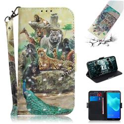 Beast Zoo 3D Painted Leather Wallet Phone Case for Huawei Y5 Prime 2018 (Y5 2018)
