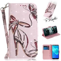 Butterfly High Heels 3D Painted Leather Wallet Phone Case for Huawei Y5 Prime 2018 (Y5 2018 / Y5 Lite 2018)