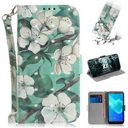 Watercolor Flower 3D Painted Leather Wallet Phone Case for Huawei Y5 Prime 2018 (Y5 2018 / Y5 Lite 2018)