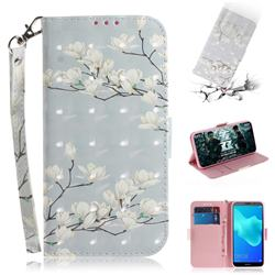 Magnolia Flower 3D Painted Leather Wallet Phone Case for Huawei Y5 Prime 2018 (Y5 2018 / Y5 Lite 2018)