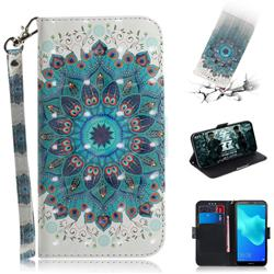 Peacock Mandala 3D Painted Leather Wallet Phone Case for Huawei Y5 Prime 2018 (Y5 2018)