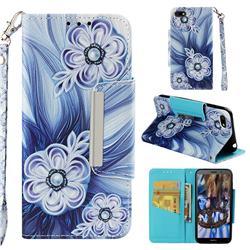 Button Flower Big Metal Buckle PU Leather Wallet Phone Case for Huawei Y5 Prime 2018 (Y5 2018 / Y5 Lite 2018)