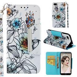 Fotus Flower Big Metal Buckle PU Leather Wallet Phone Case for Huawei Y5 Prime 2018 (Y5 2018)