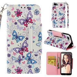 Colored Butterfly Big Metal Buckle PU Leather Wallet Phone Case for Huawei Y5 Prime 2018 (Y5 2018)