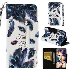 Peacock Feather Big Metal Buckle PU Leather Wallet Phone Case for Huawei Y5 Prime 2018 (Y5 2018)