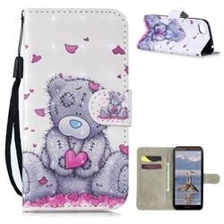 Love Panda 3D Painted Leather Wallet Phone Case for Huawei Y5 Prime 2018 (Y5 2018 / Y5 Lite 2018)