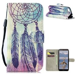 Feather Wind Chimes 3D Painted Leather Wallet Phone Case for Huawei Y5 Prime 2018 (Y5 2018 / Y5 Lite 2018)