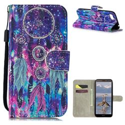 Star Wind Chimes 3D Painted Leather Wallet Phone Case for Huawei Y5 Prime 2018 (Y5 2018 / Y5 Lite 2018)