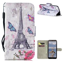 Paris Tower 3D Painted Leather Wallet Phone Case for Huawei Y5 Prime 2018 (Y5 2018 / Y5 Lite 2018)