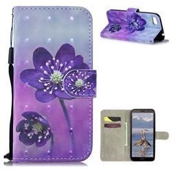 Purple Flower 3D Painted Leather Wallet Phone Case for Huawei Y5 Prime 2018 (Y5 2018 / Y5 Lite 2018)