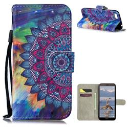 Oil Painting Mandala 3D Painted Leather Wallet Phone Case for Huawei Y5 Prime 2018 (Y5 2018 / Y5 Lite 2018)