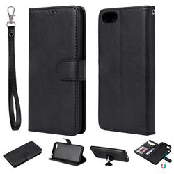 Retro Greek Detachable Magnetic PU Leather Wallet Phone Case for Huawei Y5 Prime 2018 (Y5 2018 / Y5 Lite 2018) - Black