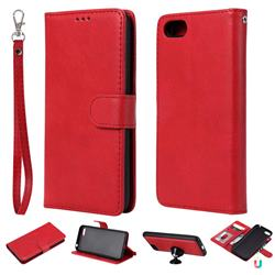 Retro Greek Detachable Magnetic PU Leather Wallet Phone Case for Huawei Y5 Prime 2018 (Y5 2018 / Y5 Lite 2018) - Red
