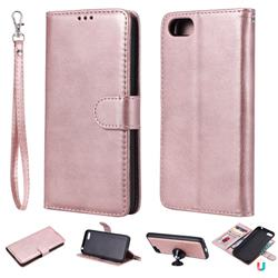 Retro Greek Detachable Magnetic PU Leather Wallet Phone Case for Huawei Y5 Prime 2018 (Y5 2018 / Y5 Lite 2018) - Rose Gold