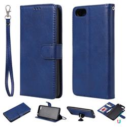 Retro Greek Detachable Magnetic PU Leather Wallet Phone Case for Huawei Y5 Prime 2018 (Y5 2018) - Blue