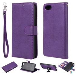 Retro Greek Detachable Magnetic PU Leather Wallet Phone Case for Huawei Y5 Prime 2018 (Y5 2018) - Purple