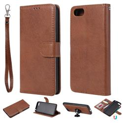 Retro Greek Detachable Magnetic PU Leather Wallet Phone Case for Huawei Y5 Prime 2018 (Y5 2018) - Brown
