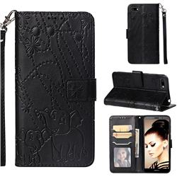 Embossing Fireworks Elephant Leather Wallet Case for Huawei Y5 Prime 2018 (Y5 2018) - Black
