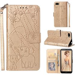 Embossing Fireworks Elephant Leather Wallet Case for Huawei Y5 Prime 2018 (Y5 2018) - Golden