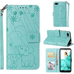 Embossing Fireworks Elephant Leather Wallet Case for Huawei Y5 Prime 2018 (Y5 2018) - Green