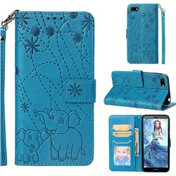 Embossing Fireworks Elephant Leather Wallet Case for Huawei Y5 Prime 2018 (Y5 2018) - Blue