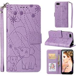 Embossing Fireworks Elephant Leather Wallet Case for Huawei Y5 Prime 2018 (Y5 2018 / Y5 Lite 2018) - Purple