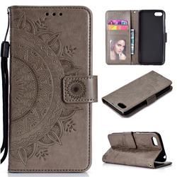 Intricate Embossing Datura Leather Wallet Case for Huawei Y5 Prime 2018 (Y5 2018 / Y5 Lite 2018) - Gray