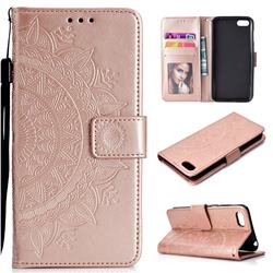 Intricate Embossing Datura Leather Wallet Case for Huawei Y5 Prime 2018 (Y5 2018 / Y5 Lite 2018) - Rose Gold