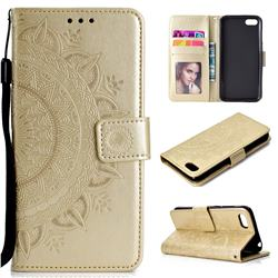 Intricate Embossing Datura Leather Wallet Case for Huawei Y5 Prime 2018 (Y5 2018 / Y5 Lite 2018) - Golden