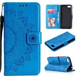 Intricate Embossing Datura Leather Wallet Case for Huawei Y5 Prime 2018 (Y5 2018 / Y5 Lite 2018) - Blue