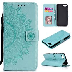 Intricate Embossing Datura Leather Wallet Case for Huawei Y5 Prime 2018 (Y5 2018 / Y5 Lite 2018) - Mint Green