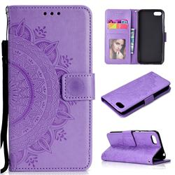 Intricate Embossing Datura Leather Wallet Case for Huawei Y5 Prime 2018 (Y5 2018 / Y5 Lite 2018) - Purple