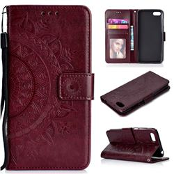 Intricate Embossing Datura Leather Wallet Case for Huawei Y5 Prime 2018 (Y5 2018 / Y5 Lite 2018) - Brown