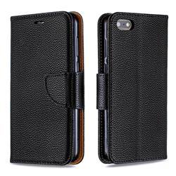 Classic Luxury Litchi Leather Phone Wallet Case for Huawei Y5 Prime 2018 (Y5 2018 / Y5 Lite 2018) - Black