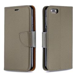 Classic Luxury Litchi Leather Phone Wallet Case for Huawei Y5 Prime 2018 (Y5 2018 / Y5 Lite 2018) - Gray