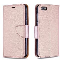 Classic Luxury Litchi Leather Phone Wallet Case for Huawei Y5 Prime 2018 (Y5 2018 / Y5 Lite 2018) - Golden