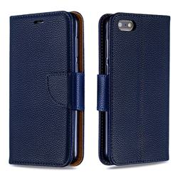 Classic Luxury Litchi Leather Phone Wallet Case for Huawei Y5 Prime 2018 (Y5 2018 / Y5 Lite 2018) - Blue