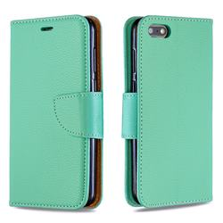 Classic Luxury Litchi Leather Phone Wallet Case for Huawei Y5 Prime 2018 (Y5 2018 / Y5 Lite 2018) - Green