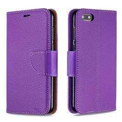 Classic Luxury Litchi Leather Phone Wallet Case for Huawei Y5 Prime 2018 (Y5 2018 / Y5 Lite 2018) - Purple