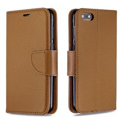 Classic Luxury Litchi Leather Phone Wallet Case for Huawei Y5 Prime 2018 (Y5 2018 / Y5 Lite 2018) - Brown