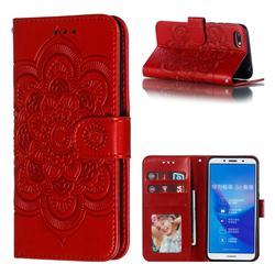 Intricate Embossing Datura Solar Leather Wallet Case for Huawei Y5 Prime 2018 (Y5 2018 / Y5 Lite 2018) - Red