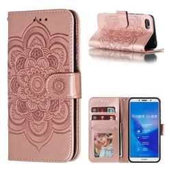 Intricate Embossing Datura Solar Leather Wallet Case for Huawei Y5 Prime 2018 (Y5 2018 / Y5 Lite 2018) - Rose Gold