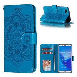 Intricate Embossing Datura Solar Leather Wallet Case for Huawei Y5 Prime 2018 (Y5 2018 / Y5 Lite 2018) - Blue