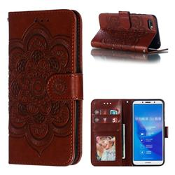 Intricate Embossing Datura Solar Leather Wallet Case for Huawei Y5 Prime 2018 (Y5 2018 / Y5 Lite 2018) - Brown