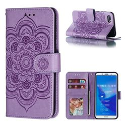 Intricate Embossing Datura Solar Leather Wallet Case for Huawei Y5 Prime 2018 (Y5 2018 / Y5 Lite 2018) - Purple